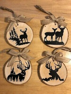 Details about Deer Silhouette 4 Pc Set. Christmas Ornament – Candle Making Silver Christmas Decorations, Christmas Wood, Diy Christmas Ornaments, Homemade Christmas, Christmas Gifts, Cheap Ornaments, Homemade Ornaments, Wood Ornaments, Deer Ornament