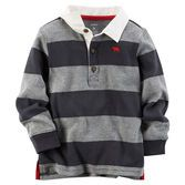 Bold stripes are always in style. With a soft white collar and red twill tape details, this rugby polo is a winner.<br>