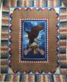 These are the last two Quilts of Valor that I needed to get quilted for the Stitching Sisters group. The first one is by Kathy. I love her use of printed fabrics and they helped me decid… Quilt Boarders, Quilt Blocks, American Flag Quilt, Quilt Of Valor, Patriotic Quilts, Panel Quilts, Blue Quilts, Large Prints, Quilt Patterns