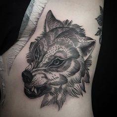 Wolf Tattoo by Alex Snelgrove blackwork blackink linework blacktattoos AlexSnelgrove