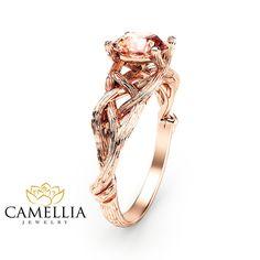 14K Rose Gold Morganite Engagement Ring Rose Gold Branch Ring
