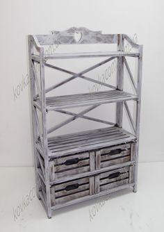 Этажерка деревянная на 3 полки и 4 ящика. Купить в розницу и оптом. Выгодные условия приобретения.