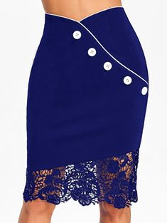 Competitive Denim Dark Blue 2xl Skirts online, mobile Gamiss offers you Crochet Lace Trim High Waisted Sheath Skirt at $12.89, we also offer Wholesale service.