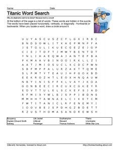 Print the Titanic Word Search and find the Titanic related words. Learn more about the unsinkable Titanic with these printable worksheets and coloring pages.