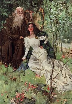 """Howard Chandler Christy: Ellen and the Harper from """"The Lady of the Lake"""" by Sir Walter Scott (Bobbs, Merrill 1910) Another breathtaking color plate from one of Christy's finest productions."""