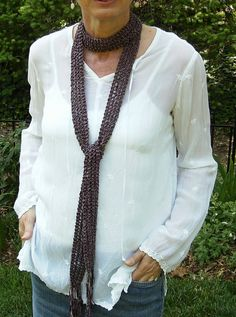 Boho Skinny Scarf Hand Knit Purple Beaded Fringe by BonArtsStudio