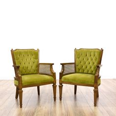 This pair of accent chairs is featured in a solid wood with a glossy mahogany finish. Each bohemian style side chair has green velvet upholstery, tufted backs, carved fluted legs, and caned sides. Perfect for extra seating! #bohemian #chairs #accentchair #sandiegovintage #vintagefurniture