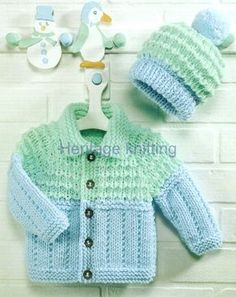 Welcome to heritage patterns. Digital download of a jacket and hat chunky knitting pattern to fit age sizes 3 months -6 years TOOLS NEEDED pair of uk 3 and uk 5 knitting needles all our patterns are water marked but are still very easy to read.