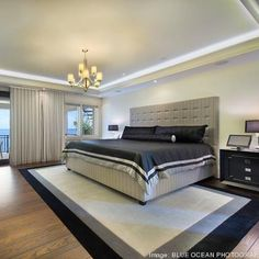 the black and white master bedroom inside the miami mansion owned by lebron james credit