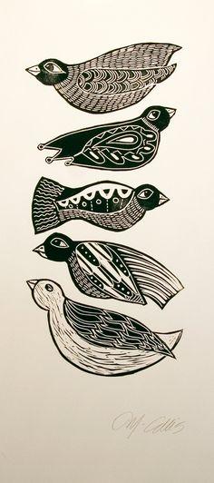 Black Birds, a handpulled black and white linocut by Mariann Johansen-Ellis.