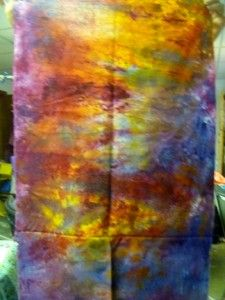 Light source fabric Gold yellow, soft orange, raspberry, rust and cerulean