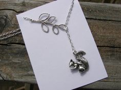 Woodland Collection Silver Squirrel Lariat Necklace on Etsy, $8.98