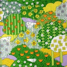 Pat Albeck 1970's textile green orange yellow