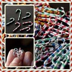 Tiny candy canes from paper clips