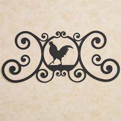 Iron Rooster Over the Door Plaque