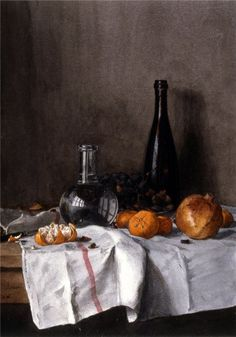 Still Life with Wine, Water, Fruit, and Nuts,1864, Leon Bonvin