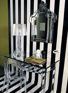 braxton and yancey: Tim Burton Inspired Home Décor in 3 Style Stories – Gothic, Modern Gothic and Fantastical Interior Design Blogs, Interior Decorating, Decorating Ideas, Acrylic Furniture, Mirrored Furniture, Mirrored Desk, Acrylic Chair, Lucite Desk, Lucite Chairs