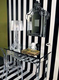 bold black and white striped wallpaper