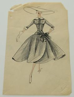 5 - 1930s - 1950s Vintage Fashion Design Original Art Drawings