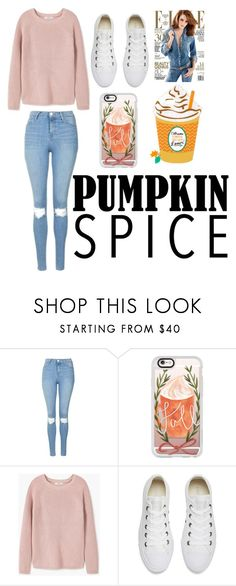 """""""Pumpkin Spice and Everything Nice"""" by hannahbea654 ❤ liked on Polyvore featuring Topshop, Casetify, MANGO, Converse and claire's"""