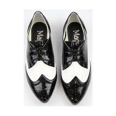MADCAP ENGLAND Glenda Retro 60s Mod Patent & Leather Brogues ($78) ❤ liked on Polyvore featuring shoes, oxfords, brogue oxford, black and white oxford shoes, black and white shoes, balmoral oxfords and patent shoes
