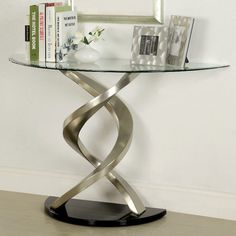 Furniture of America Marisa Contemporary Glass Top Console Table in Satin Sofa Tables, Console Table, End Tables, Living Room Table Sets, Tempered Glass Table Top, Twisted Metal, Beveled Glass, Design, Home Decor