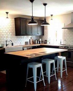 Laxarby kitchen cabinets, black, ikea, white metro tile