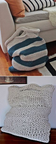 Free Knitting Pattern for Laundry Bags - Easy laundry bags in two sizes: 40 cm x. Free Knitting Pattern for Laundry Bags - Simple laundry bags in two sizes: 40 cm x 48 cm and 50 cm x 60 cm. Quick knitted from super voluminous yarn. Easy Knitting, Loom Knitting, Knitting Patterns Free, Crochet Patterns, Knitting Ideas, Knitting Needles, Crochet Ideas, Crochet Stitches, Free Crochet