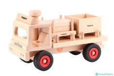 """Fagus Wooden Flat Bed Pallet Truck - Made in Germany by Fagus. $61.32. Includes: 1 Pallet, 1 Stacking Box And 3 Peg Figures. Steerable For Little Hands. For indoor play only.. Sturdy 13"""" Long Pallet Truck. Made inGermany of beech wood.. A 14 inch long, wooden flatbed pallet truck with a container box to be filled and carted away. And the lumber is ready to take to the construction site for building. The wonderful wooden cars, trucks and accessories by Fagus are made of beech w..."""