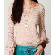 Free People Crochet Bell-Sleeve Top ☀️ Beautifully detailed top in a size Small. Bell-sleeves and a low scoop back. No flaws at all- In pristine condition ☀️ Please feel free to ask any/all questions! Free People Tops Tees - Long Sleeve