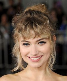 Curly bangs for your face shape plus styling tips and inspo.                                                                                                                                                                                 More