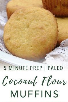 These grain-free, paleo-friendly coconut flour muffins will be a staple in your home. They require only a few ingredients and 5 minutes of prep. Coconut Flour Muffins, Coconut Flour Cakes, Coconut Flour Recipes, Corn Muffins, Coconut Cookies, Coconut Oil, Allergy Free Recipes, Paleo Recipes, Real Food Recipes