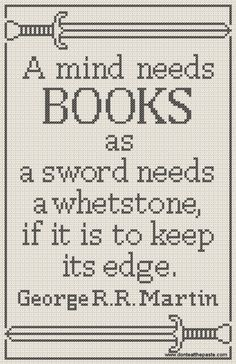 A mind needs books- free cross stitch pattern