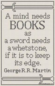 A mind needs books- free cross stitch pattern