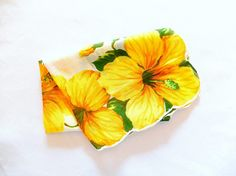 hibiscus handkerchief/vintage hankie/orange yellow/fine