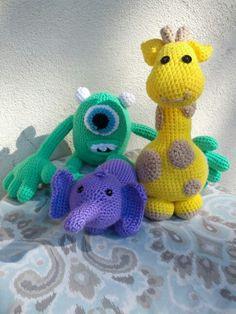 Mike, Elephant & Giraffe amigurumi