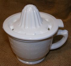 White Measuring Cup Juicer Milk Glass Reproduction Depression Glass # 505W