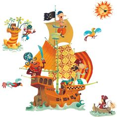Photos dessin couleur bateau pirate page 3