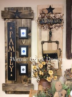 Rustic wood decor - Note This one on the left has 3 vertical boards and then the family board and three picture frames Primitive Wood Crafts, Rustic Crafts, Country Crafts, Wooden Crafts, Country Primitive, Country Decor, Handmade Crafts, Hand Crafts, Primitive Signs