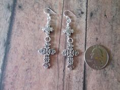 Handmade Silver Dangling Cross Earrings Multiple by BeadLove14