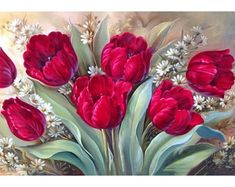 You too can be an artist when you paint with Diamonds! Every kit gives you a chance to create a work of art you can be proud of. This diamond painting kit Cross Paintings, Easy Paintings, Art Floral, Mosaic Pictures, Red Rose Flower, White Flowers, Cross Crafts, Red Tulips, 5d Diamond Painting