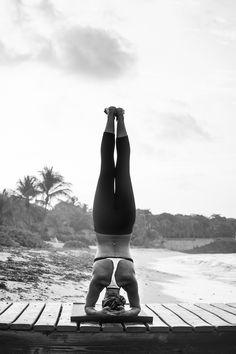 Janelle at Spotts — Heather Neilson Photography, yoga on a dock, headstand, beach yoga