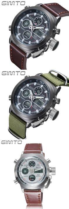 GIMTO 2017 Watches Men Luxury Brand Sports Dive 30m LED Digital Watches Nylon Quartz Mens Watch reloj hombre Relogio Masculino