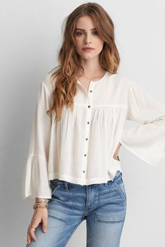 American Eagle Outfitters AEO Button Down Peasant Top American Eagle Shirts, American Eagle Outfits, American Fashion, Casual Outfits, Cute Outfits, Pink Outfits, Mens Outfitters, Eagle Outfitters, Urban Outfitters
