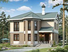 """🏠 """"Классика""""- двухэтажный особняк с эркером: цены, планировка, фото. Купить готовый проект Modern Bungalow House, House Plans, Sweet Home, Villa, Cottage, Exterior, House Design, How To Plan, Mansions"""