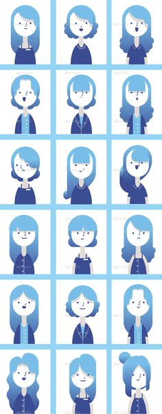 Set of Flat style female characters with gradient color and all vector elements, Choose from 18 hairstyles, 9 outfits, 4 glasses styles  and various of characters face conbinations Make your own ch...