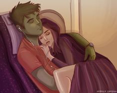 Raven Cuddling with Beast boy Teen Titans Love, Original Teen Titans, Raven Beast Boy, Bbrae, Deathstroke, Young Justice, Dc Heroes, Nightwing, Marvel Dc Comics