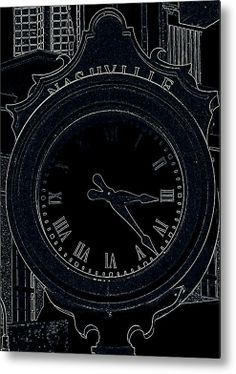 Nashville City Clock Metal Print By Laurie Pike