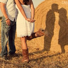 Engagement pictures in hay field!