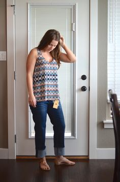 Stitch Fix Review April 2015 Multi Colored Sleeveless Shirt http://fantabulosity.com